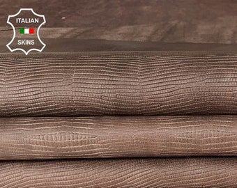 BROWN TEJUS LIZARD reptile Embossed antiqued textured veg tan Calfskin Calf Leather crafts bags shoes 2 skins total 14sqf 0.7mm #A7347