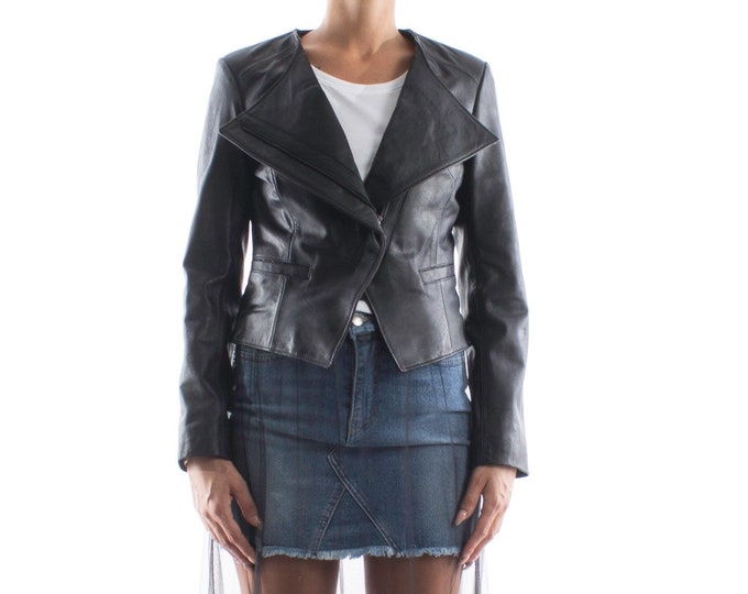 Italian handmade Women genuine soft lambskin leather cropped asymmetrical jacket slim fit color black