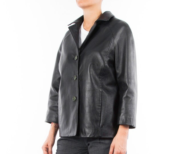 Italian handmade Women genuine lambskin leather jacket color Black size M