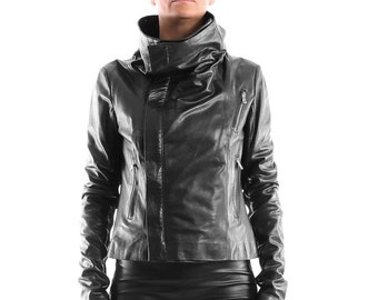Italian handmade Women genuine soft lambskin leather trendy biker asymmetrical jacket slim fit color BLACK M