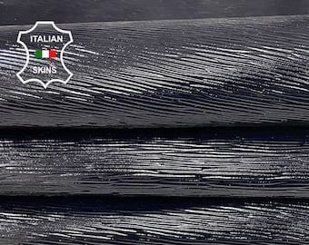 EPI very Dark Blue shiny embossed textured Italian strong Goatskin Goat leather 2 skins hides total 8sqf 0.9mm #A7427