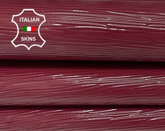 EPI WINE Red shiny embossed textured Italian Goatskin Goat leather 2 skins hides total 6sqf 0.8mm #A7461