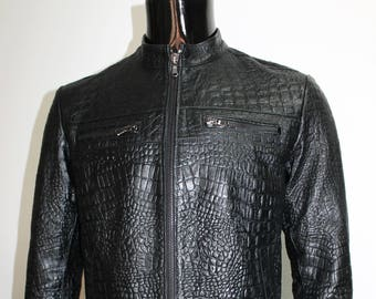 Italian handmade Men genuine lambskin leather jacket color Black Crocodile
