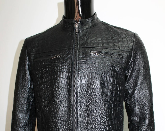 Italian handmade Men genuine lambskin leather jacket color Black Crocodile