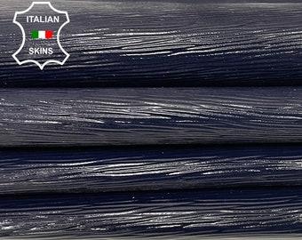 EPI WINE Dark Blue shiny embossed textured Italian strong Goatskin Goat leather 2 skins hides total 7sqf 0.7mm #A7426