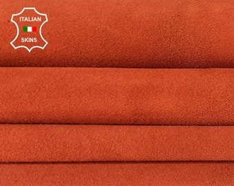 FIRE ORANGE SUEDE Italian Genuine Goatskin Goat leather sewing material crafts 2 skins hides total 10sqf 1.1mm #A7393