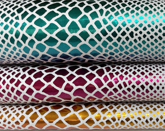 METALLIC MULTICOLOR SNAKE print multi colors double sided Italian Lambskin Lamb Sheep leather skins hides skin  5-7sqf 0.6mm #A7444