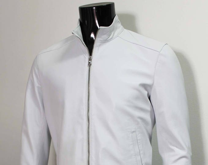Italian handmade Men soft lambskin genuine leather jacket color WHITE