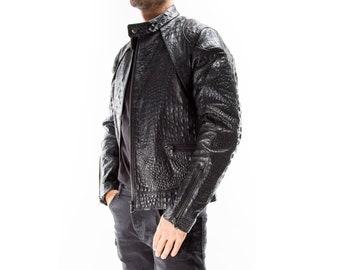 BLACK ALLIGATOR CROCODILE Italian handmade Men genuine Goatskin leather jacket slim fit Xs to 3XL