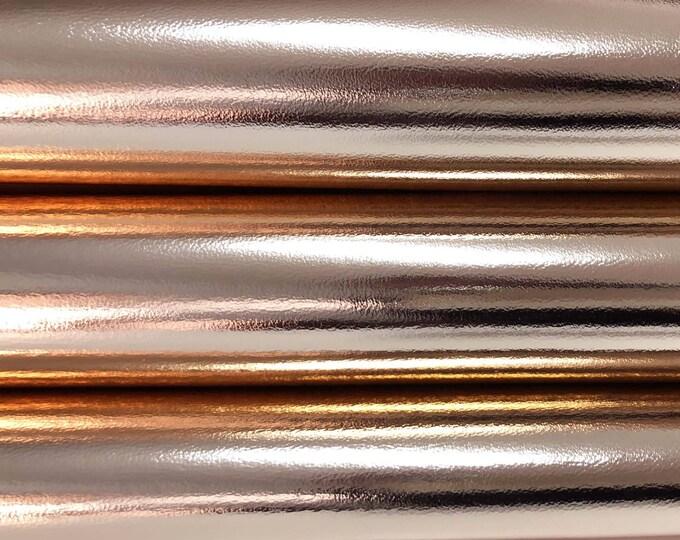 METALLIC ROSE GOLD Italian Lambskin leather skin skins hide hides 8sqf