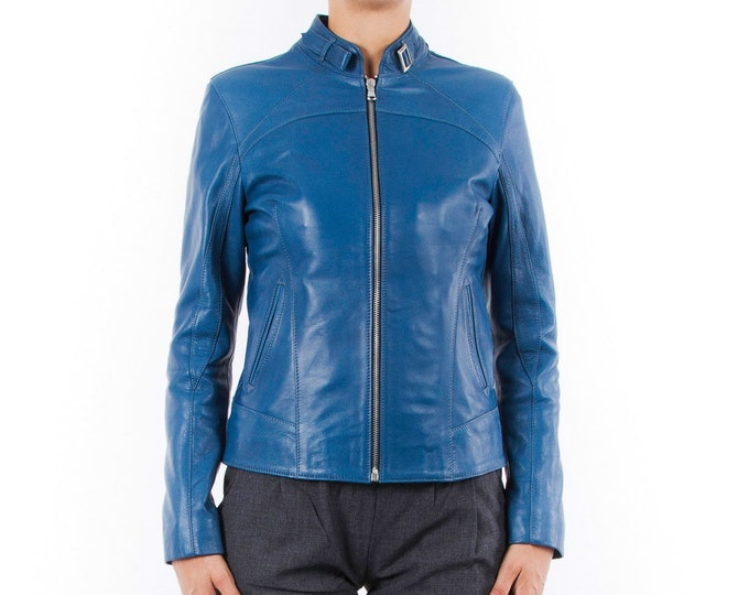 Italian handmade Women genuine soft lambskin leather jacket slim fit blue