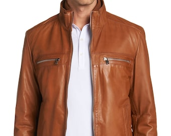 Italian handmade Men soft genuine lambskin leather jacket color tan