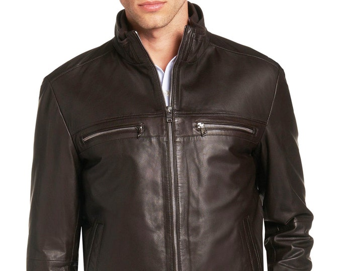 Italian handmade Men soft genuine lambskin leather jacket color Dark Brown
