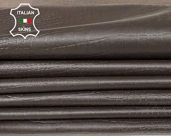 DARK BROWN CROCODILE textured embossed soft Italian Lambskin Lamb Sheep leather material for sewing skin skins 7+sqf 0.8mm #A7430