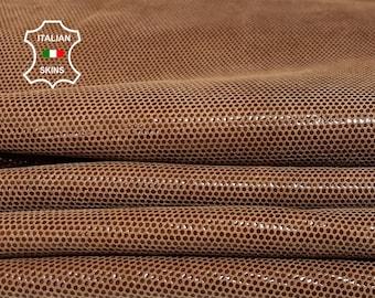 BROWN LAMé shiny dots thin soft Italian Lambskin lamb sheep leather 2 skins total 7sqf 0.4mm #A7257