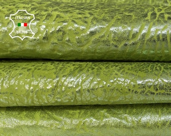 BUBBLY LIME GREEN metallic distressed washed grainy textured vintage thick Lambskin Lamb Sheep leather 2 skins total 8sqf 1.8mm #A7414