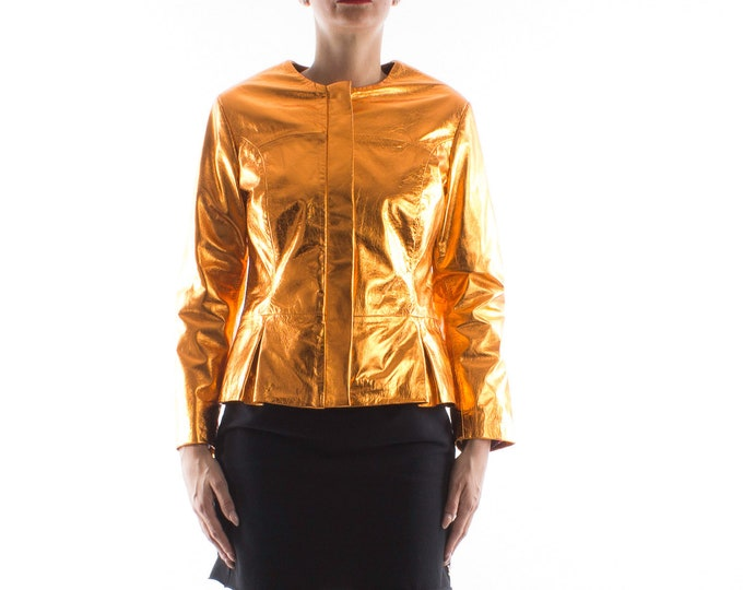 Italian handmade Women real genuine lambskin leather jacket METALLIC ORANGE