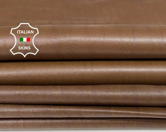 BROWN DISTRESSED soft Italian Lambskin Lamb Sheep leather material for sewing 2 skins total 14sqf 0.7mm #A7433
