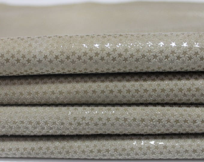Italian lambskin leather 12 skins hides SHINY STARS print on BEIGE 80-90sqf