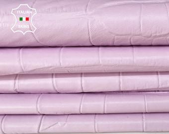 MARSHMALLOW PINK CROCODILE texture Italian lambskin Lamb Sheep leather 12 skins hides total 80-90sqf