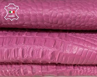 PINK CROCODILE ALLIGATOR texture Italian lambskin Lamb Sheep leather 12 skins hides total 80-90sqf