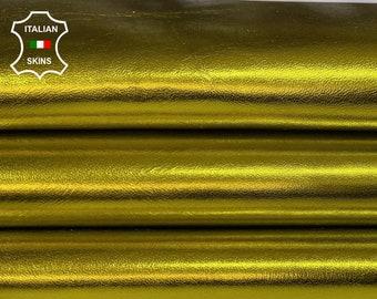 Italian lambskin leather 12 skins hides METALLIC GOLDEN YELLOW 80-90sqf