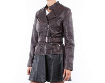 Italian handmade Women genuine soft lambskin leather biker jacket slim fit brown distressed