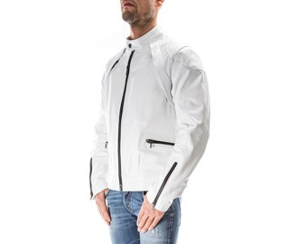 WHITE Italian handmade Men genuine Lambskin real leather jacket slim fit XS to 3XL