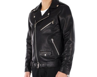 Italian handmade Men genuine lambskin leather biker jacket slim fit Black