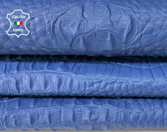 BLUE CROCODILE ALLIGATOR texture Italian lambskin Lamb Sheep leather 12 skins hides total 80-90sqf