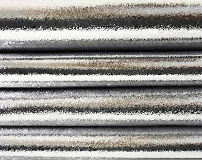 METALLIC SILVER Italian lambskin lamb sheep leather skin skins hide hides 0.7mm