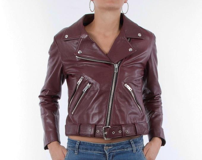 Italian handmade Women genuine leather biker jacket slim fit wine bordeaux