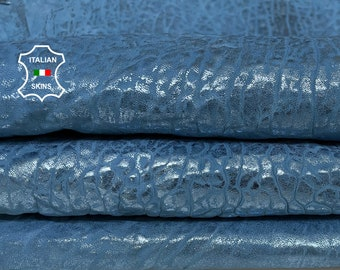 BUBBLY AZURE BLUE metallic distressed washed bubbly grainy textured vintage thick Lambskin Sheep leather 2 skins total 7sqf 1.8mm #A7412