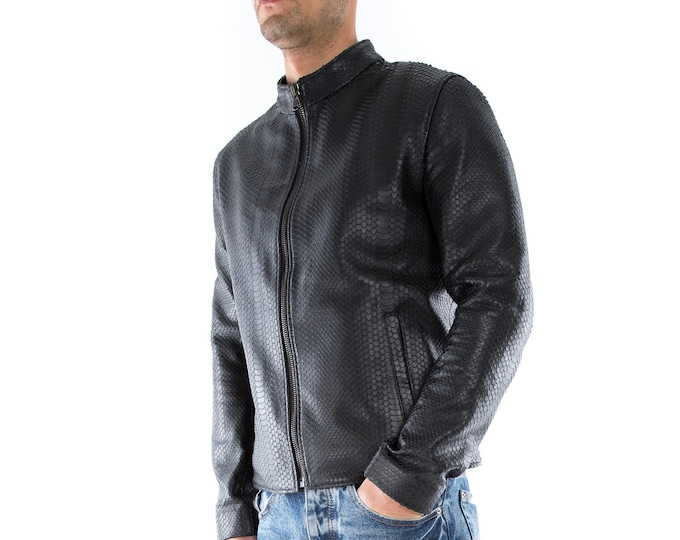 Italian handmade slim fit Men genuine leather jacket black snake XS to 2XL