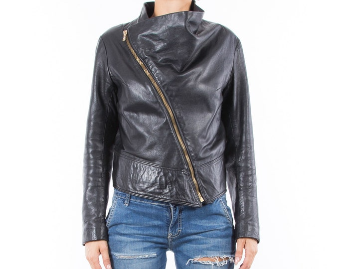Italian handmade Women genuine soft lambskin leather trendy biker asymmetrical jacket slim fit black