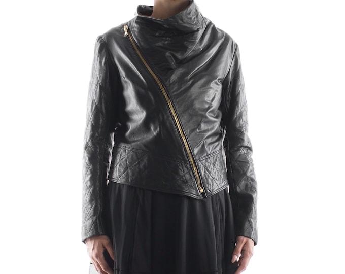 Italian handmade Women genuine soft lambskin leather trendy cropped biker asymmetrical jacket slim fit color black