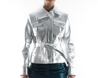 Italian handmade Women genuine lambskin leather belted jacket METALLIC SILVER CRINKLE