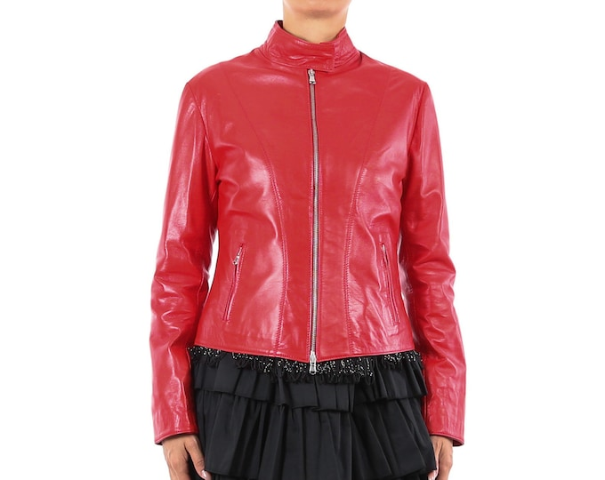 Italian handmade Women soft genuine lambskin leather fitted jacket slim fit color Red