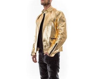METALIC GOLD Italian handmade Men genuine Lambskin real leather jacket slim fit Xs to 3XL