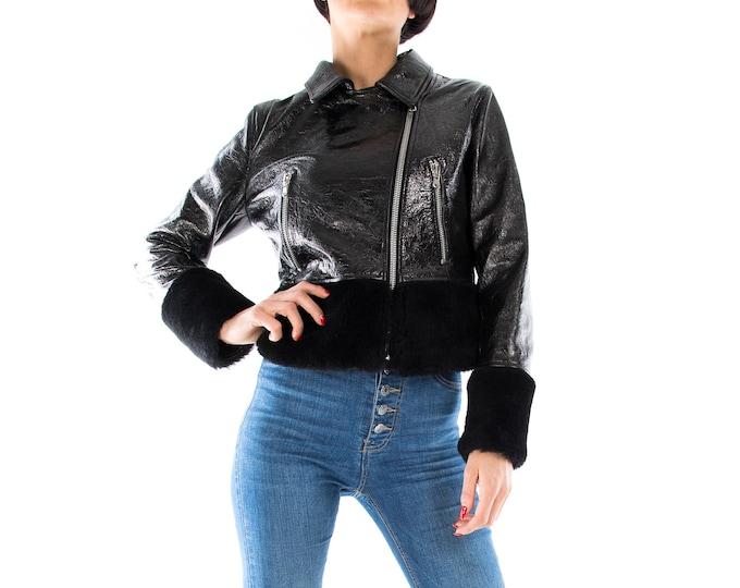 Italian handmade Women genuine soft patent black lambskin leather biker jacket with shearling XS to 2XL