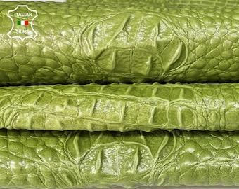 LIME GREEN CROCODILE Alligator texture Italian lambskin Lamb Sheep leather 12 skins hides total 80-90sqf