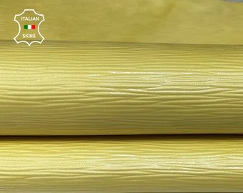 EPI LV PATENT Yellow pearlized textured Italian Calfskin calf cow bags leather 2 skins hides total 9sqf 1.0mm #A7395