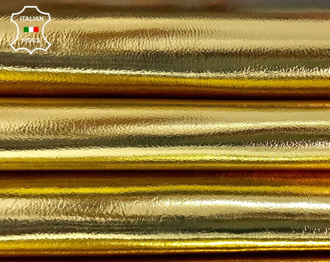 METALLIC PURE GOLD Italian genuine real lambskin lamb sheep leather for sewing skin skins hide hides 0.8mm