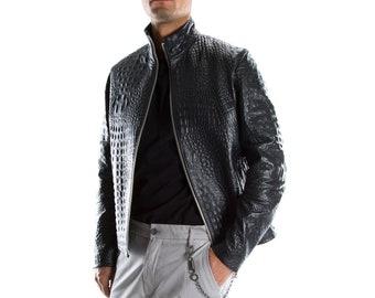 BLACK ALLIGATOR CROCODILE Italian handmade Men genuine Goatskin leather jacket slim fit xs to 2xl