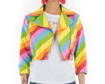 Italian handmade Women genuine soft lambskin leather trendy pride cropped biker jacket slim fit color RAINBOW MULTICOLOR