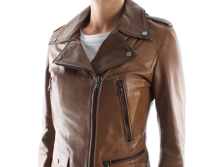 Italian handmade Women genuine leather biker jacket slim fit color brown distressed