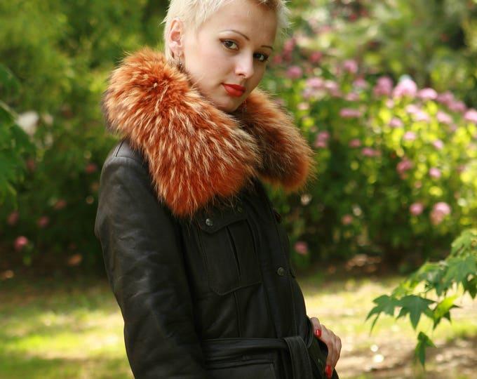 Made To Order Italian handmade Women genuine lamb lambskin leather belted jacket coat made in Italy custom customized order fox fur collar