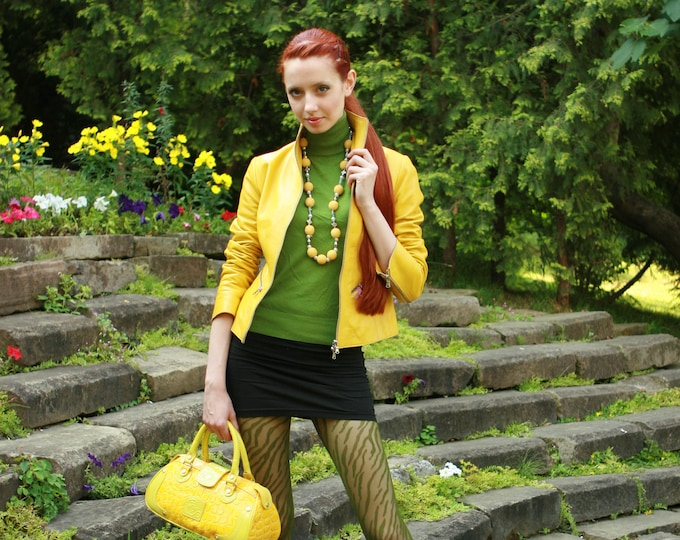 Italian handmade Women soft genuine lambskin leather jacket color Yellow