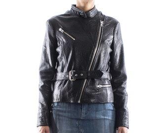 Italian handmade Women genuine lambskin leather biker jacket color natural grainy black