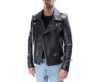 Italian Handmade Hommes Cuir Slim Veste de motard crocodile noir Taille 3XL